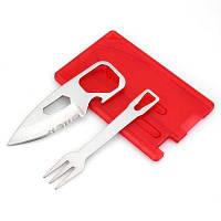 Многофункциональный EDC инструмент в форме карты с ножом / вилкой / шестигранным ключом Красный