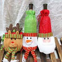 Macroart Многоразовый ручной рождественскый мешок для бутылки с шаблоном оленя / снеговика / санта-клауса 3шт Цветной