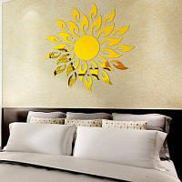 Бытовая Декоративные Формы Солнце Зеркало Стены Стикеры Золотой