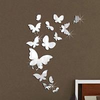 Декоративная Бабочка Зеркало Стены Стикеры Серебристый