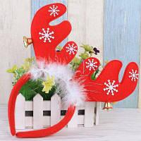 Симпатичный рождественский головной обруч с балаболками и оленьим рогом для украшения праздника Красный