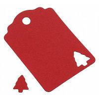 Этикетка с отверстием в форме елки для упаковки подарков 100шт Красный