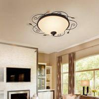 Jueja Iron Border Glass Lampshade 3 E27 Lamp Base 18-дюймовый домашний потолочный светильник Подвесные люстры 110 В