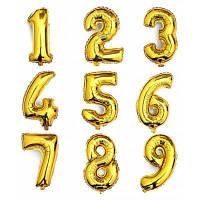 Гелиевые шары цифры 9шт Золотой