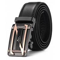 Подлинная кожаный ремень с Автоматический пряжки для мужчин Чёрный