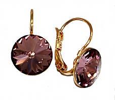 Серьги фирмы ХР, позолота.Камни: Swarovski, тёмно-сиреневого цвета. Диаметр серьги: 12 мм. Высота: 2 см.
