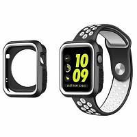 Ремешок для Apple Watch 38мм полный защитный чехол резиновый чехол+спортивный силиконовый ремень для Apple Watch серии 3 2 1 черно-белый