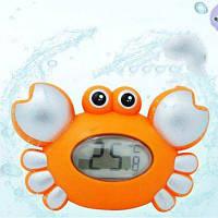 Краб плавающая игрушка для детской ванночки с термометром 4шт Оранжевый