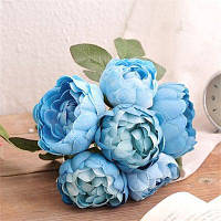 Хм 6 головок Голубая Роза искусственные цветы Синий