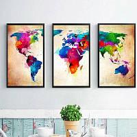 Карта мира украшения дома Живопись холст 3шт Разноцветный