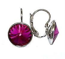 Серьги фирмы ХР, родий. Камни: Swarovski,  цвет: малиновый. Диаметр серьги: 12 мм. Высота: 2 см.
