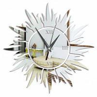 3D декоративная форма Вс акриловое зеркало Настенные часы Серебристый