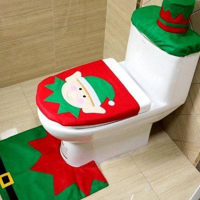 Моющийся чехол на крышку унитаза в стиле рождественского эльфа для ванной - Цветной, фото 2