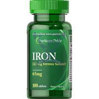 Puritan's Pride Iron Ferrous Sulfate 65 mg железо от выпадения волос от анемии повышение гемоглобина