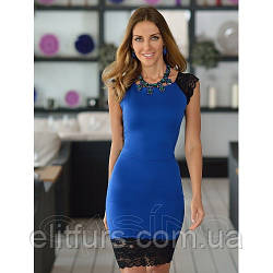 Платье мини декорировано кружевом из дайвинга  + (2 цвета)