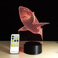 Yeduo Shark Tooth 3D Led Night Light Акриловые Красочные Детские Детские Спальни Usb Настольная лампа Подарок на День Рождения Рождество Цветной