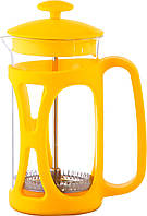 Заварник для чая с прессом стеклянный Con Brio 800мл желтый СВ5380
