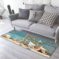 Противозаносный напольный ковер с шаблоном 3D печатных морских звезд раковин ковролин Разноцветный