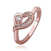 Кольцо сердечко покрытие золото 18К камни Сваровски проба