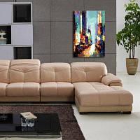Масляная живопись из холста с узором современного здания счастливое искусство ручная работа 16 x 24 дюймов (40cм x 60cм)