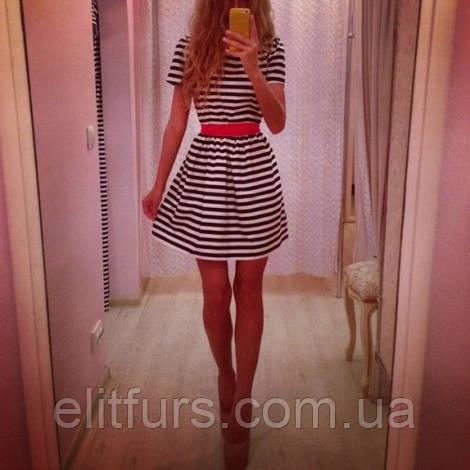 Платье Полосатое с красным поясом