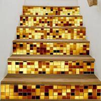Золотой Стиль Мозаика Стикер Стены Лестницы Декор 18 x 100 см x 6 шт