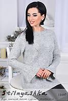 Женственный свитер рукава воланы серый