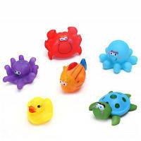 6шт симпатичные игрушки для ванной морские животные с писком при нажатии мульти