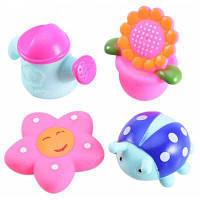 4шт детские игрушки для ванной с писком при нажатии Цветной