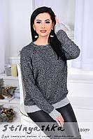 Теплый вязанный свитер темнщ-серый
