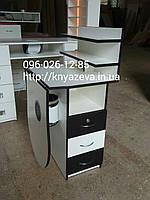 """Маникюрный стол """"Стандарт"""" складной, с мощной вытяжкой 200м3/ч, белый с черным"""
