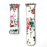 Британский сельский стиль цветочный запасной ремешок из натуральной кожи для 42мм iWatch серии 3 2 1 Белый