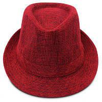 QingFang Британский Стиль Мужская Льняная Шляпа Красный