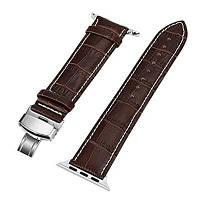 38мм Натуральный кожаный запасной ремень с пряжкой-бабочкой для серии iWatch 3 2 1 Темно-коричневый