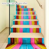 Красочный деревянный стиль наклейки стикер стены 18 x 100 см x 6 шт