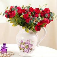 XM1 10Heads Красный чай розы Домашнее украшение Искусственные цветы Красный