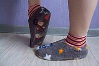 Женские махровые тапочки-носочки коричневые со звездочками размер 36