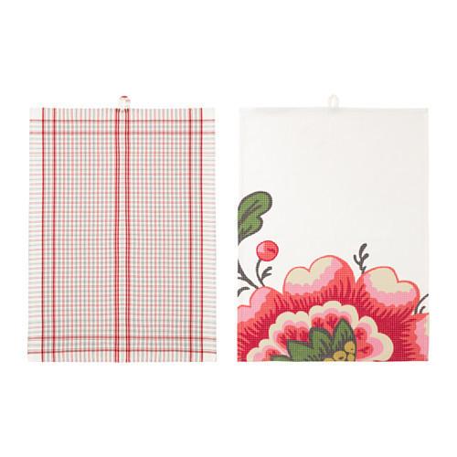ИНБЬЮДАНДЕ Полотенце кухонное, цветок, квадраты, 50x70 см, 70286834, ИКЕА, IKEA, INBJUDANDE