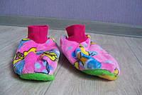 Женские махровые тапочки-носочки розовые с уточкой размер 36