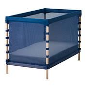 ФЛИТИНГ Кроватка детская, бук, классический синий, 60x120 см, 60226138, ИКЕА, IKEA, FLITIG