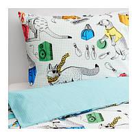 ФЛИККОГА Постельное белье, белый, разноцветный, 150x200/50x60 см, 00298920, ИКЕА, IKEA, FLICKOGA