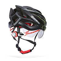 ROCKBROS защитный шлем с ветрозащитными очками для велоспорта Чёрный