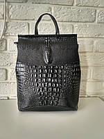 f0b979b6eb6b Кожаный рюкзак-сумка (трансформер) с теснением под рептилию
