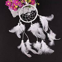 Ловец снов с перьями подвеска украшение для дома автомобиля Белый