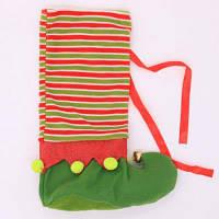 Декоративный рождественский чехол для винной бутылки в виде чулка Зелёный
