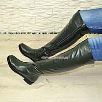 Ботфорты женские зеленые кожаные зимние на низком ходу, фото 1