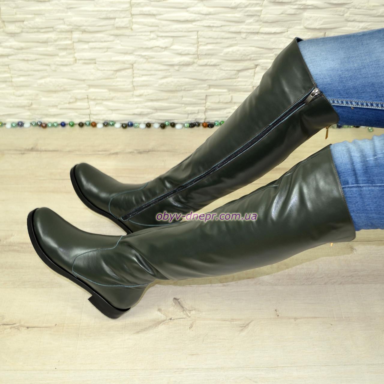 Ботфорты женские зеленые кожаные демисезонные на низком ходу. 36 размер