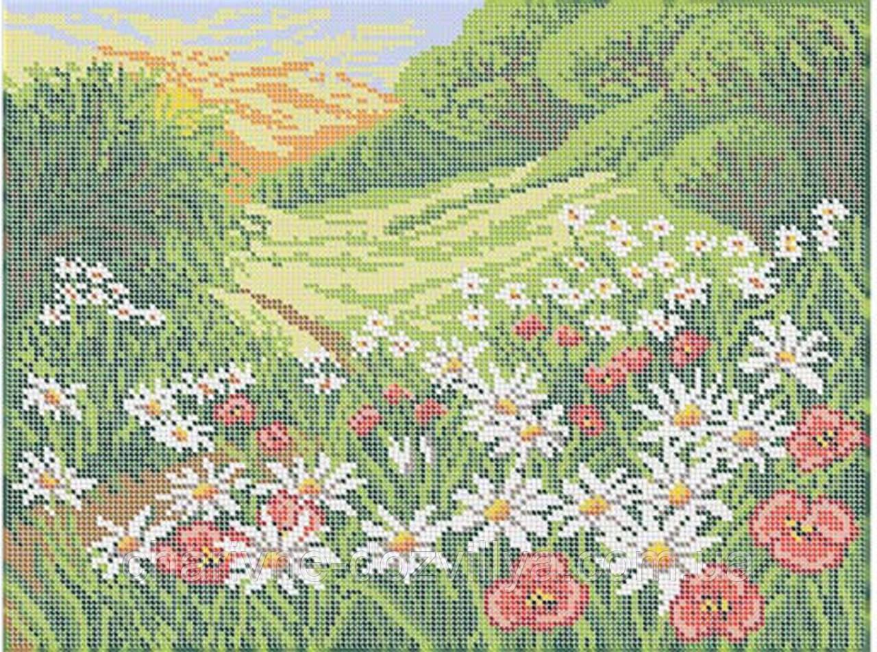 """Схема для вышивки бисером на габардине """"Полевые цветы"""""""