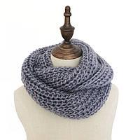 Стильный теплый вязанный женский шарф-хомут снуд серого цвета
