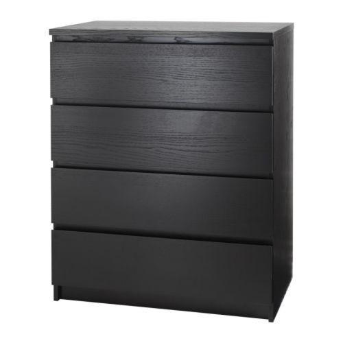 МАЛЬМ Комод, 4 ящика, темно-коричневый, 30403566, IKEA, ИКЕА, MALM